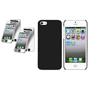 Cerhinu CommonByte Slim Black Hard Case Cover+2x Mirror Screen Protector For iPhone 5 G 5th Gen