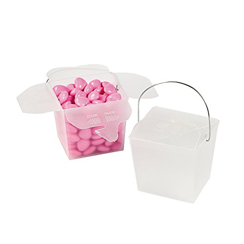 Fun Express - Plastic Frosted Take Out Boxes for Wedding - Party Supplies - Containers & Boxes - Plastic Containers - Wedding - 12 Pieces