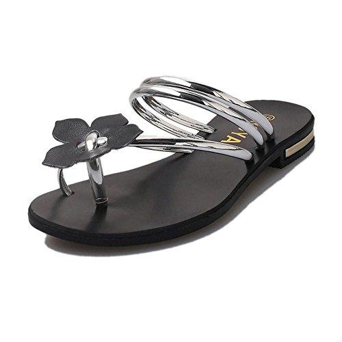 Argento Donna Striscia Donna Mare Scarpe Infradito Pantofola Uomogo® Estate Sandali w7z0Rq