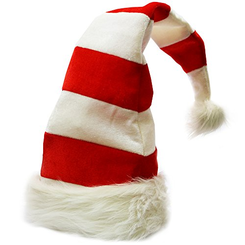 [Christmas Hats - Candy Holiday Theme Hats - Santa Hats - by Funny Party Hats (Red and White Santa] (Crazy Christmas Hats)