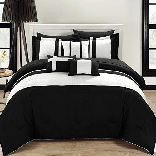 Chic Home 10-Piece Fiesta Bed-in-a-Bag Comforter Set, Queen, Black (Sets Bed Black Cream And)