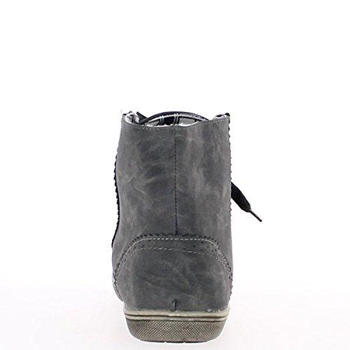 Zapatillas gris mujer oscura decoración dentada alza