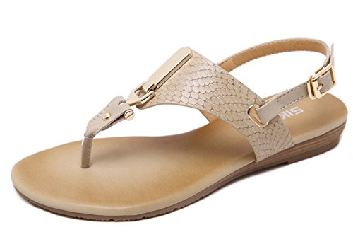 Insun Women's Thong Flat Sandals With Ankle Strap Apricot(buckle)