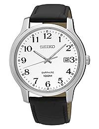 Seiko Men's SGEH69 Leather Strap Sapphire Crystal Wrist Watch