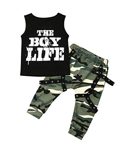 MA&BABY Toddler Infant Baby Boys Daddy's Saying Short Sleeve T-Shirts Tops Pants Outfit Set (2-3 Years, Black 3)