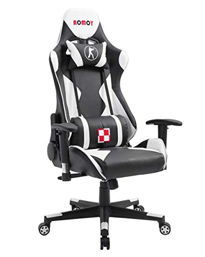 AOMOY Gaming Chair Ergonomic Swivel Racing Chair with Adjustable High-Back and Handrest Computer Office Chair with Headrest Lumbar Support(White)