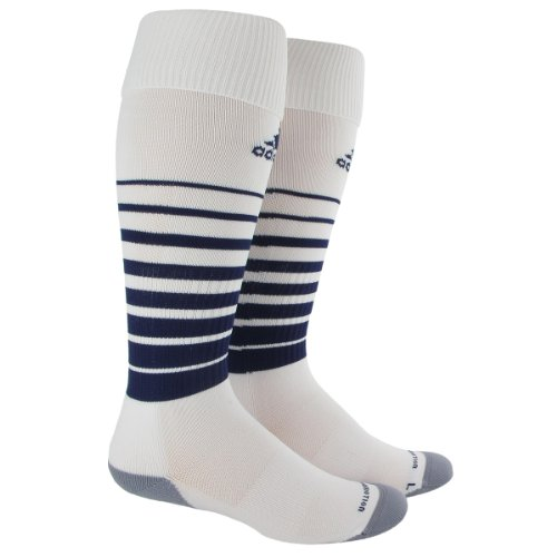 adidas Team Speed Soccer Socks (1-Pack), White/New Navy, Medium