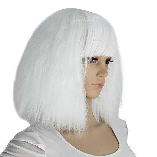 eNilecor Short Fluffy Bob Kinky Straight Hair Wigs with Bangs Synthetic Heat Resistant Women Fashion Hairstyles Custom Cosplay Party Wigs + Wig Cap(White)