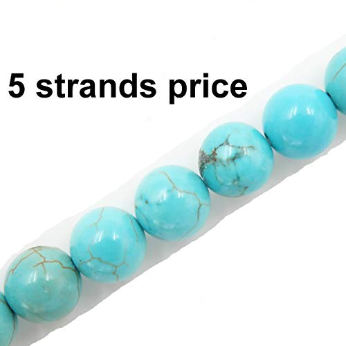 Malahill Gemstone Beads for Jewelry Making, Sold per Bag 5 Strands Inside, Blue Howlite Turquoise - Strands Howlite Beads