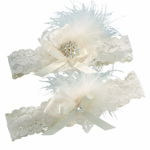(Ivy Lane Design Vintage Feather Brooch Bridal Wedding Garter Set, Large, Ivory)