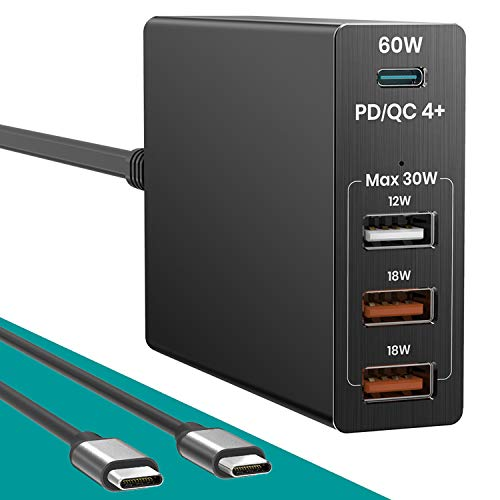 USB Charging Hub Stations 90W 4 Port, USB-C PD/QC 4+ Laptop Charger Adapter for MacBook/Pro Dell HP, 3 Prot USB Quick Charge Wall Charger for iPhone, iPad, iPad Pro Samsung Galaxy, Pixel from Klearlook