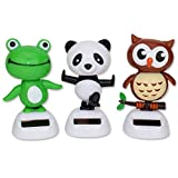 Set 3 Kong Fu Panda, Baby Owl, Greed Frog Solar Bobble Head Toys~ We Pay Your Sales Tax