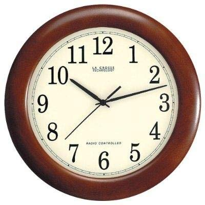 StarSun Depot 12.5-inch Atomic Analog Wall Clock with Wood Finish Frame