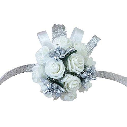 Wildgirl Wedding Bridesmaid Bride Prom Bridal Wrist Corsage Hand Flower Bracelet (White Flower Silver Pearl) (Wrist Corsage Prom)