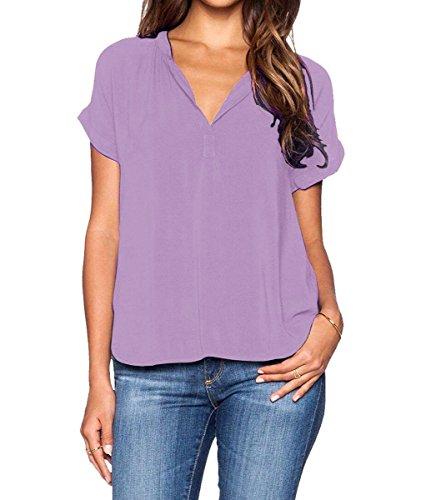 roswear Women's Chiffon Blouse V Neck Short Sleeve Top Shirts Lavender Large