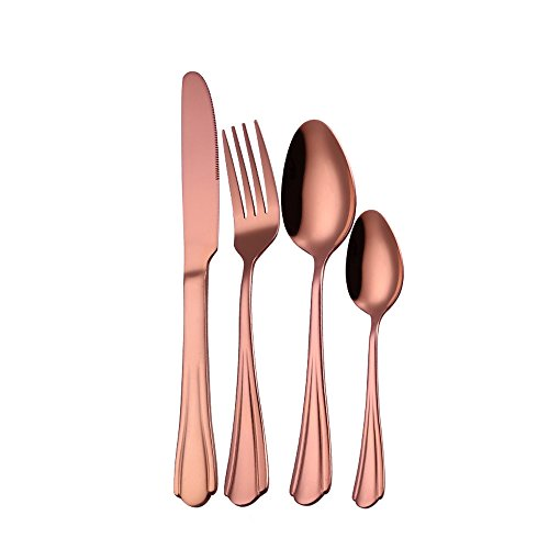 Home Accessories Onsales, 4PC/Set Stainless Steel Upscale Dinnerware Flatware Cutlery Fork Spoon Rose Gold, Color Rose Gold, Kitchen Bathroom Bar Easter Decorations Gifts Clearances