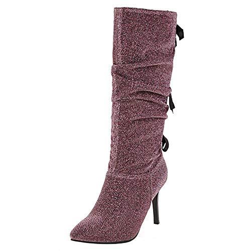 Taoffen Femmes Mode Talon Aiguille Soirée Longue Bottes Violet-2