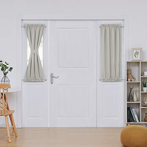 Deconovo Blackout PanelRod Pocket Blackout Door Curtains Thermal Insulated Sliding Window Curtains 25x40 inch Light Beige 2 Panels