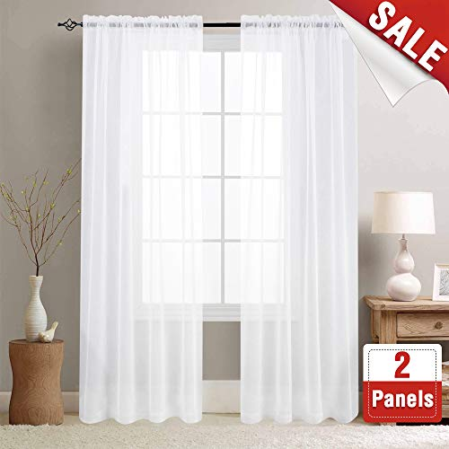 (White Sheer Curtains 95 inches Long for Living Room Rod Pocket Drapes for Bedroom Voile Window Curtain Set (1 Pair,)
