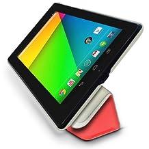 Google Nexus 7 2 (2013) Multi-Angle Slim 'Frameless' Case with Auto Sleep Wake Sensor by LuvTab® (Red)