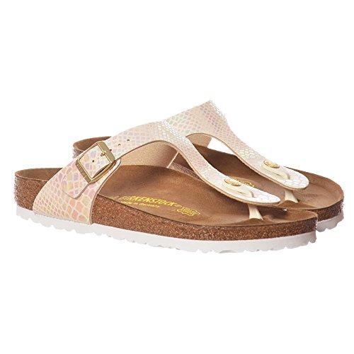 (Birkenstock Gizeh Women's Toe Post Sandals 37 M EU /6-6.5 B(M) US Shiny Snake Cream)