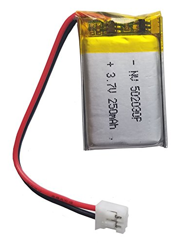 - Lithium Ion Polymer 3.7v Rechargeable Battery 250mAh 2-pin PH-2P Connector 502030 by Atomic Market