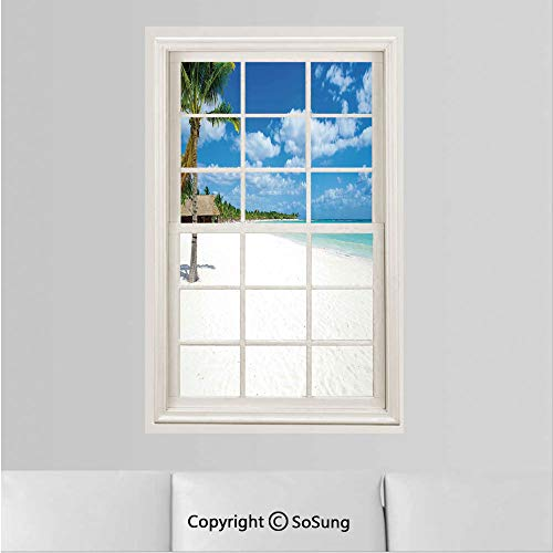 Beach Removable Wall Sticker/Wall Mural,Tropical Exotic Seashore with Palm Trees and Clear Sky Island Nature Summertime Creative Window View design Wall Decor,19.6