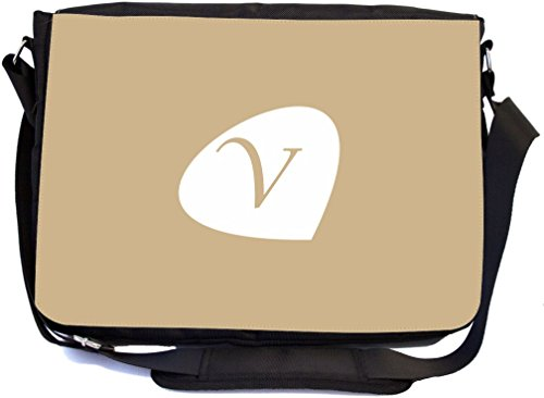 Rikki Knight Buchstabe V Initialen Sand Farbe Blütenblatt Blätter Design, Messenger Schule Tasche (mbcp-cond43696)