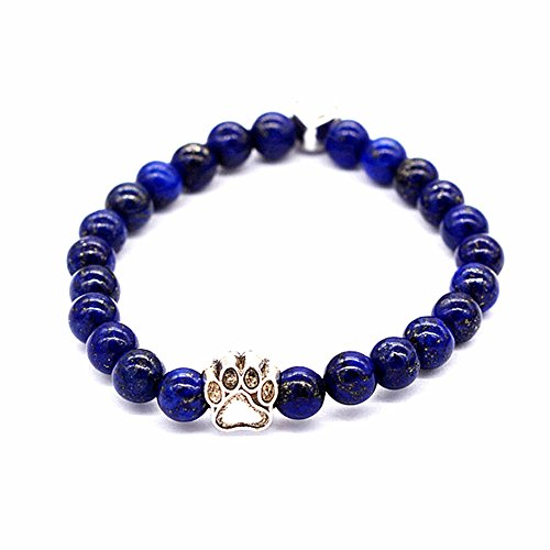 Healing Power Bracelet with Dog Paw Charm Lava Tiger Eye Stone Elastic Stretch Beaded Bracelets (Lapis Lazuli) (Turquoise Bracelet Lapis)
