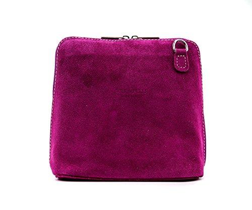 Italian Fuchia Genuine London Body Cross Womens Real Pelle Shoulder Bag Small Craze Suede Strap Designer Vera pHPxPw
