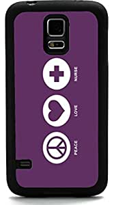 Rikki KnightTM Peace Love Nurse Purple Color Design Samsung? Galaxy S5 Case Cover (Black Rubber with front Bumper Protection) for Samsung Galaxy S5 i9600 by supermalls