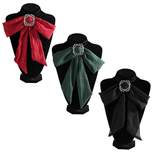 Hanpabum 3pcs Rhinestone Chiffon Bow Tie Shirt Choker Necklace for Women Girls for Wedding Party Graduation