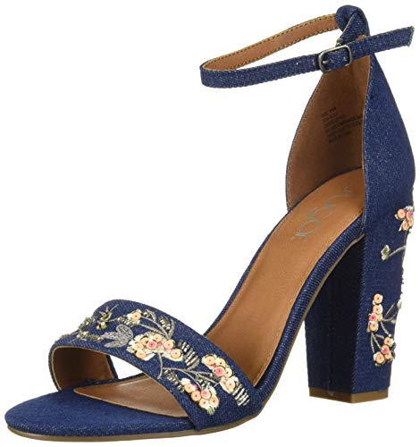 Heels Embroidered - Sugar Women's Slick Floral Embroidered Block Heel Sandal Heeled, Black Micro Embroid, 10 M US
