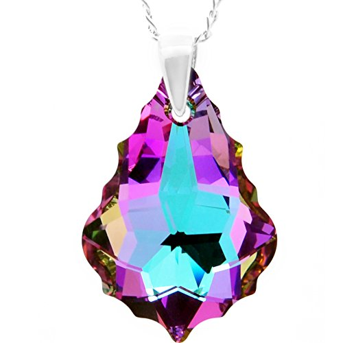 Royal Crystals Sterling Silver Vitrail Light Purple Pink Blue Teardrop Necklace Made with Swarovski Crystals Elements, 18