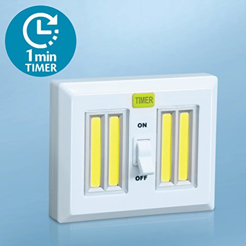 4 Super Bright LED Light Switch with Timer - AA Battery Operated Night Lights - Magnetic and Hangable - Dual Cob LED Cordless, Closet Light, Under Cabinet - KMSdeco 4 Super Bright COB LED