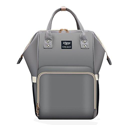Uigos Baby Diaper Backpack Bag for Women Multi Function Waterproof Water Wipes Gray Travel Bookbag