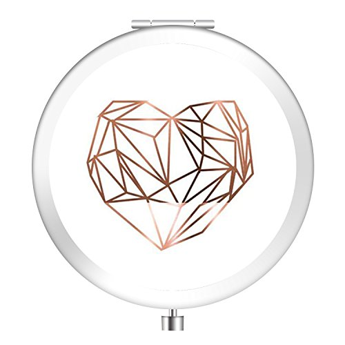 Cosmetic Mirror, Natural Light Personlized Pocket Makeup Mirror Double Sides with 2x Magnification and 1 True View Mirror Perfect for Travel - Golden Heart