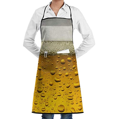 Adjustable Bib Apron with Pockets, Unisex Adjustable Chef Apron with Pocket Beer Wallpaper Bib Apron Kitchen Apron Adjustable Extra Long Ties for BBQ Baking and Cooking-Black