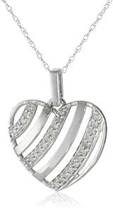 "10k White Gold Diamond Heart Pendant Necklace (.15 cttw, H-I Color, I2 Clarity), 18"""