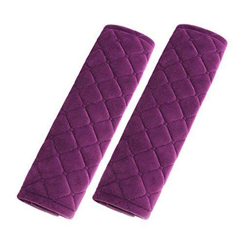 Forala Car Seatbelt Pads,Soft Cotton Blend Shoulder Strap Belt Covers Harness Protector for Cars/Bags/Cameras/,Perfect Stress Relax for Your Neck (Purple)
