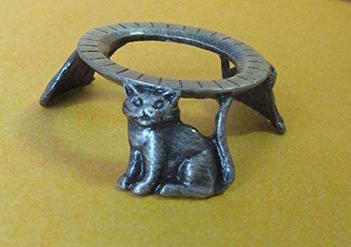 Pewter 3 Cats Hen Egg Stand Holder Display, Pysanka Stand Holder Display