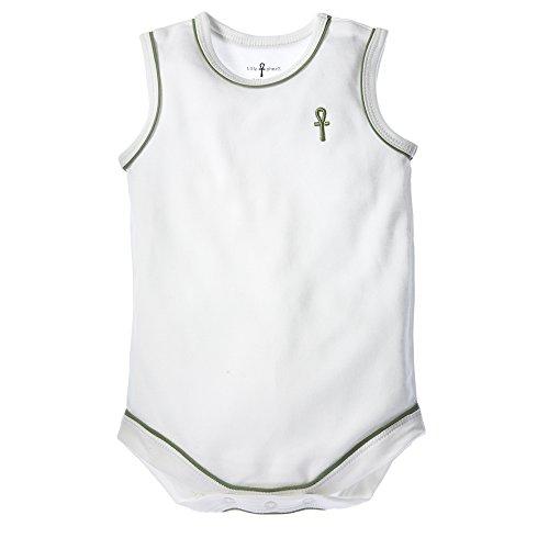 little pharo 100% Extra-Long Staple Egyptian Cotton Sleeveless Bodysuit (ivory with green piping, size 6-12 -