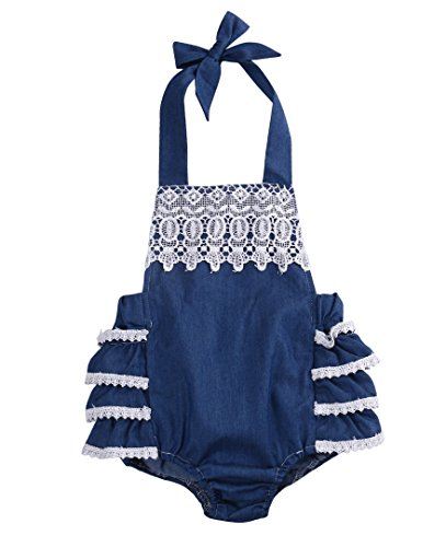 Infant Baby Girl Lace Floral Jeans Halter Sleeveless Backless Romper Jumpsuit (2T(Tag100), Blue)