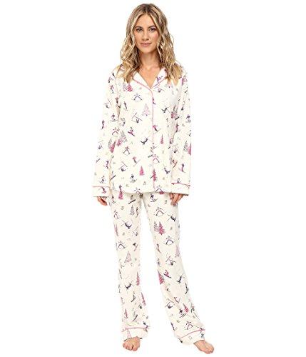 BedHead Women's Long Sleeve Classic Pajama Set Pink Ski Bunnies Pajama (Pink Ski Bunny)