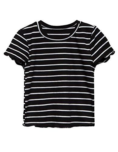 Girls Lettuce Edge - Full Tilt Stripe Lettuce Edge Black Girls Tee, Black/White, Medium