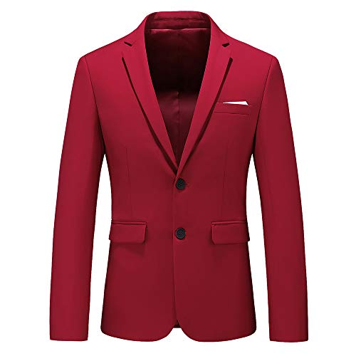 (Mens Casual Two Button Single Breasted Suit Jacket Modern Wedding Tux Blazer US Size 44 (Label Size 6XL) Red)