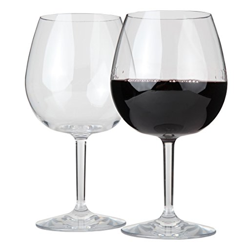 (Lily's Home Unbreakable Pinot Noir and Burgundy Red Wine Glasses, Made of Shatterproof Tritan Plastic, Ideal for Indoor and Outdoor Use, Reusable and, Crystal Clear (22 oz. Each, Set of 2))