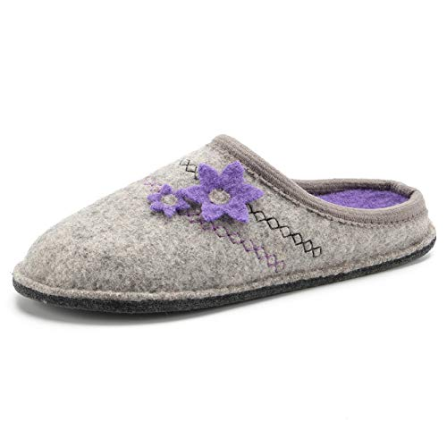 LE KAPMOZ Womens Boiled Wool House Slippers Breathable Winter Warm Slip on Mules Indoor/Outdoor Slipper for Women