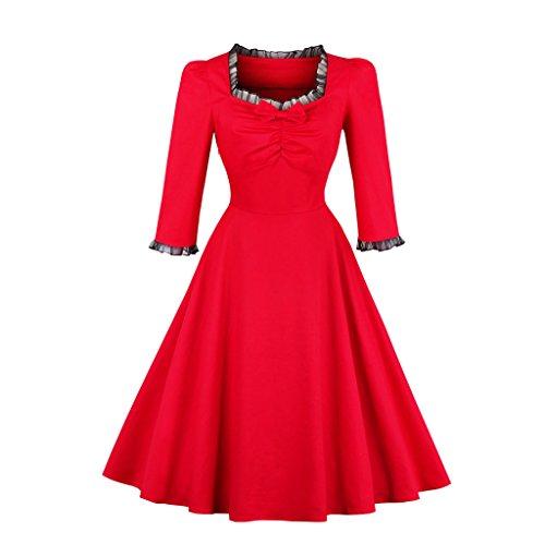 Swing Otoño Rojo cuello de Viste de cuadrado vestido otoño Three hembra Sleevees rojo Quarter elegante Cosecha Rockabilly fiesta I7OwxTUx