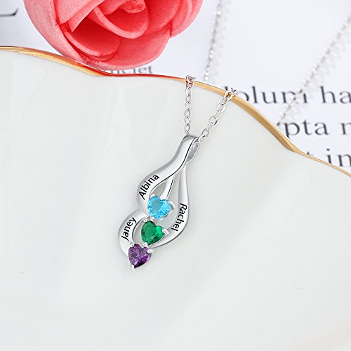 Love Jewelry Personalized 3 Heart Simulated Birthstone Mothers Pendant Necklace with 3 Names Family Pendants for Mother by Love Jewelry (Image #3)